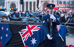 © London News Pictures. 25/04/2016. London, UK. Prince Harry attended a poignant ANZAC Day service at Hyde Park Corner at day break..The service began with the primitive sounds pūtātara conch shell trumpet playing a lament from the top of Royal Artillery Memorial. Photo credit: Sergeant Rupert Frere/LNP