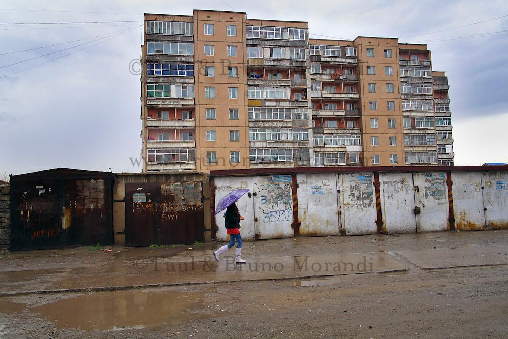 Mongolie, Oulan Bator, architecture des annees 60, epoque sovietique // Mongolia, Ulan Bator, 1960 architecture, soviet time