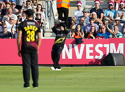 Somerset's Tom Abell catches Gloucestershire's Jack Taylor off the bowling of Josh Davey<br /> <br /> Photographer Simon King/Replay Images<br /> <br /> Vitality Blast T20 - Round 1 - Somerset v Gloucestershire - Friday 6th July 2018 - Cooper Associates County Ground - Taunton<br /> <br /> World Copyright © Replay Images . All rights reserved. info@replayimages.co.uk - http://replayimages.co.uk