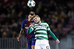 (l-r) Denis Suarez of FC Barcelona, Stefan Ristovski of Sporting Club de Portugal during the UEFA Champions League group D match between FC Barcelona and Sporting Club de Portugal on December 05, 2017  at the Camp Nou stadium in Barcelona, Spain.