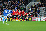 Peterborough's Michael Bostwick (6) scores the opening goal from a free-kick. NPower championship, Cardiff city v Peterborough Utd at the Cardiff city stadium in Cardiff, South Wales on Sat 15th Dec 2012. pic by Andrew Orchard, Andrew Orchard sports photography,