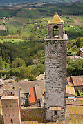 San Gimignano tower, with views of the countryside, Tuscany, Italy.
