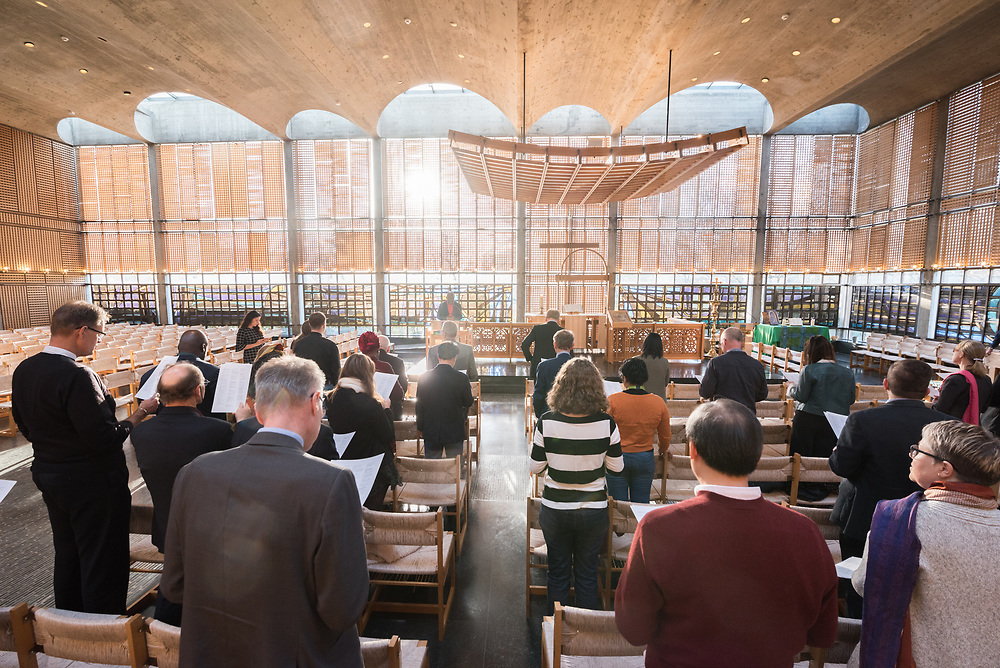 20 February 2019, Geneva, Switzerland: Morning prayers in the Ecumenical Centre chapel. On 20-21 February, PEPFAR, UNAIDS, the World Council of Churches and the International Catholic Migration Commission host a workshop on HIV among migrants and refugees. The aim of the workshop is to identify a roadmap for strengthening faith-based organizations' engagement in collaboration with other sectors, expanding the role of faith-based organizations in addressing HIV risk and providing services to migrants and refugees.
