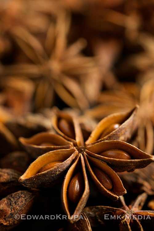 Star anise, vertical  close up.