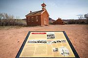 Interpretive sign and historic buildings, Grafton ghost town, Utah USA