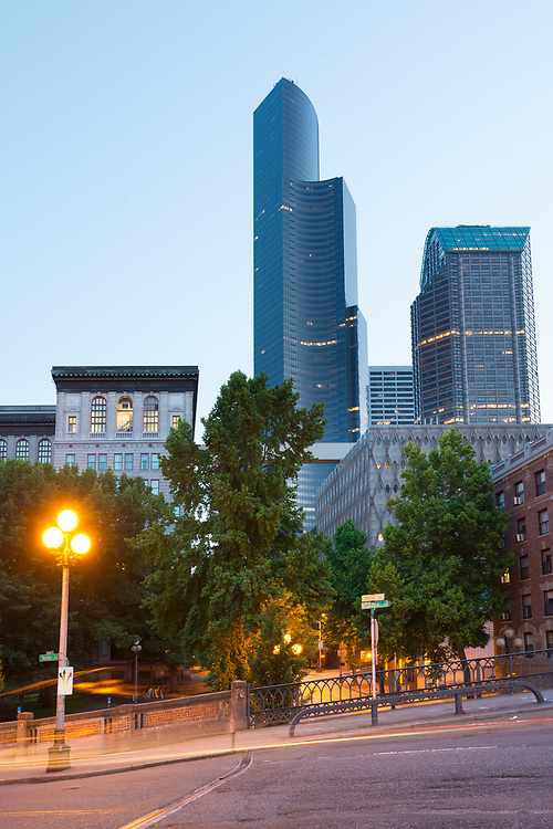 Pioneer Square district at dawn in downtown Seattle, Washington State, United States.