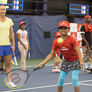 August 19, 2014, New Haven, CT:<br /> Samantha Stosur participates in the Emirates Airline tennis clinic on day five of the 2014 Connecticut Open at the Yale University Tennis Center in New Haven, Connecticut Tuesday, August 19, 2014.<br /> (Photo by Billie Weiss/Connecticut Open)