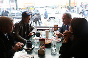 12 January 2011- New York, NY- Mayor Michael Bloomberg at meeting with the Chair of the City Council Public Safety Committee Peter F. Vallone, Jr. with Former Councilman Peter Vallone, Sr. joining at Mike's Diner in Astoria, Queens on January 12, 2011 after major SnowStorm hits the New York City Area. Photo Credit: Terrence Jennings