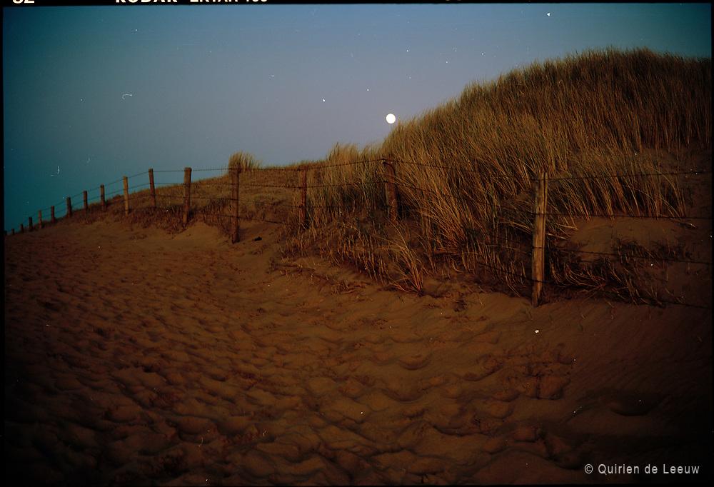 Dunes at full moon evening, beach.