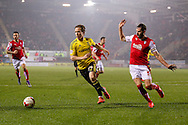 Middlesbrough midfielder Adam Forshaw (34)  and Rotherham United defender Kirk Broadfoot (5)  during the Sky Bet Championship match between Rotherham United and Middlesbrough at the New York Stadium, Rotherham, England on 8 March 2016. Photo by Simon Davies.