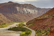 SHOT 5/7/16 8:12:21 AM - Moab is a city in Grand County, in eastern Utah, in the western United States. Moab attracts a large number of tourists every year, mostly visitors to the nearby Arches and Canyonlands National Parks. The town is a popular base for mountain bikers and motorized offload enthusiasts who ride the extensive network of trails in the area. Includes images of Scenic Byway 128, Fisher Towers and downtown Moab. (Photo by Marc Piscotty / © 2016)