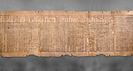 Ancient Egyptian Book of the Dead papyrus - Spell 51 for not walking upside down in gods domain, Iufankh's Book of the Dead, Ptolomaic period (332-30BC).Turin Egyptian Museum. Grey background<br /> <br /> The translation of  Iuefankh's Book of the Dead papyrus by Richard Lepsius marked a truning point in the studies of ancient Egyptian funereal studies. .<br /> <br /> If you prefer to buy from our ALAMY PHOTO LIBRARY  Collection visit : https://www.alamy.com/portfolio/paul-williams-funkystock/ancient-egyptian-art-artefacts.html  . Type -   Turin   - into the LOWER SEARCH WITHIN GALLERY box. Refine search by adding background colour, subject etc<br /> <br /> Visit our ANCIENT WORLD PHOTO COLLECTIONS for more photos to download or buy as wall art prints https://funkystock.photoshelter.com/gallery-collection/Ancient-World-Art-Antiquities-Historic-Sites-Pictures-Images-of/C00006u26yqSkDOM