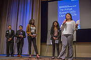 Purchase, NY – 31 October 2014. The team from Lincoln High School giving their presentation. (Left to right: Edimaobong Umana,  Kevin Cruz Sanchez, Ahmed Khalifa,  Paola Ferreira, Jennifer Yang.)  The Business Skills Olympics was founded by the African American Men of Westchester, is sponsored and facilitated by Morgan Stanley, and is open to high school teams in Westchester County.