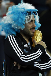 disappointed fan of Argentina holds the Worldcup during the 2018 FIFA World Cup Russia group D match between Argentina and Croatia at the Novgorod stadium on June 21, 2018 in Nizhny Novgorod, Russia