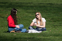 © Licensed to London News Pictures. 07/03/2021. London, UK. Members of the public relax in Hyde Park central London on the last day of full lockdown. From tomorrow (Monday) some rules will be relaxed, including children returning to school. Photo credit: Ben Cawthra/LNP