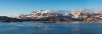 View across Kong Oscars Havn towards mountains, Tasiilaq, Greenland