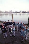 © Peter Spurrier Sports Photo<br /> e-mail  pictures@rowingpics.com<br /> tel 44 (0) 7973 819 551<br /> <br /> Both crews' line up for the photo. [Mandatory Credit; Peter SPURRIER/Intersport Images]<br /> <br /> 20010324 University Boat Race, Putney to Mortlake, London, Great Britain.
