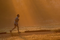 © Licensed to London News Pictures. 16/10/2011. Knole Park, Kent, UK. A jogger braves the early start in the cold misty Autumn morning.    Photo credit : Ian Schofield/LNP