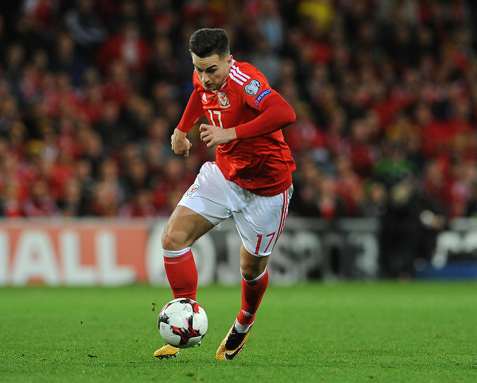 Wales'  Tom Lawrence <br /> <br /> Photographer Ian Cook/CameraSport<br /> <br /> FIFA World Cup Qualifying - European Region - Group D - Wales v Republic of Ireland - Monday 9th October 2017 - Cardiff City Stadium - Cardiff<br /> <br /> World Copyright © 2017 CameraSport. All rights reserved. 43 Linden Ave. Countesthorpe. Leicester. England. LE8 5PG - Tel: +44 (0) 116 277 4147 - admin@camerasport.com - www.camerasport.com