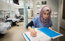 24 February 2020, Jerusalem: Nurse Hiba Almu'ti takes notes in the Adult Dialysis section of Augusta Victoria Hospital.