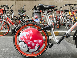 August 28, 2017 - Shanghai, China - The Mickey Mouse themed shared bikes can be seen on street in Shanghai.The bike-sharing company Mobike and Disney co-release the Mickey and Minnie Mouse shared bikes in Shanghai, marking the Chinese Valentine's Day. (Credit Image: © SIPA Asia via ZUMA Wire)