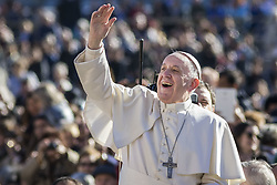 November 9, 2016 - Vatican City, Vatican - Pope Francis reacts as he arrives to celebrate his Weekly General Audience in St. Peter's Square in Vatican City, Vatican on November 09, 2016. Pope Francis on Wednesday urged the faithful not to fall into indifference but to become active instruments of mercy. (Credit Image: © Giuseppe Ciccia/Pacific Press via ZUMA Wire)