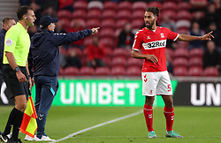 Middlesbrough manager Tony Pulis (left) talks tactics with team mate Ryan Shotton during the Sky Bet Championship match at the Riverside Stadium, Middlesbrough.