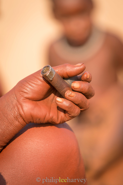 Detail of hand, Woman of the Himba Tribe, Kunene Region, Northern Namibia, Southern Africa