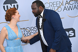 January 27, 2019 - Los Angeles, California, U.S - ELIZABETH McLAUGHLIN and BRIAN TYREE HENRY during silver carpet arrivals for the 25th Annual Screen Actors Guild Awards, held at The Shrine Expo Hall. (Credit Image: © Kevin Sullivan via ZUMA Wire)