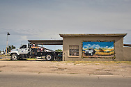 OIlfield truck service shop  in Lovington New Mexico, part of the Permian Basin which is experience an oil boom due to the fracking industry.