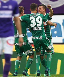 15.04.2018, Ernst Happel Stadion, Wien, AUT, 1. FBL, FK Austria Wien vs SK Rapid Wien, 30. Runde, im Bild Torjubel Philipp Schobesberger (SK Rapid Wien), Dejan Ljubicic (SK Rapid Wien) und Thomas Murg (SK Rapid Wien) // during Austrian Football Bundesliga Match, 30th Round, between FK Austria Vienna and SK Rapid Wien at the Ernst Happel Stadion, Vienna, Austria on 2018/04/15. EXPA Pictures © 2018, PhotoCredit: EXPA/ Thomas Haumer