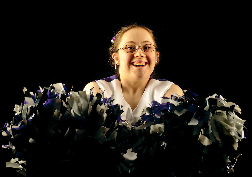 (staff photo by Matt Roth)..Megan Collins, 21, from Sparks, has been cheering with the Baltimore County Tigers Special Olympics Cheerleading team for five years. She is photographed in the PPC Studio Tuesday, April 27, 2010.