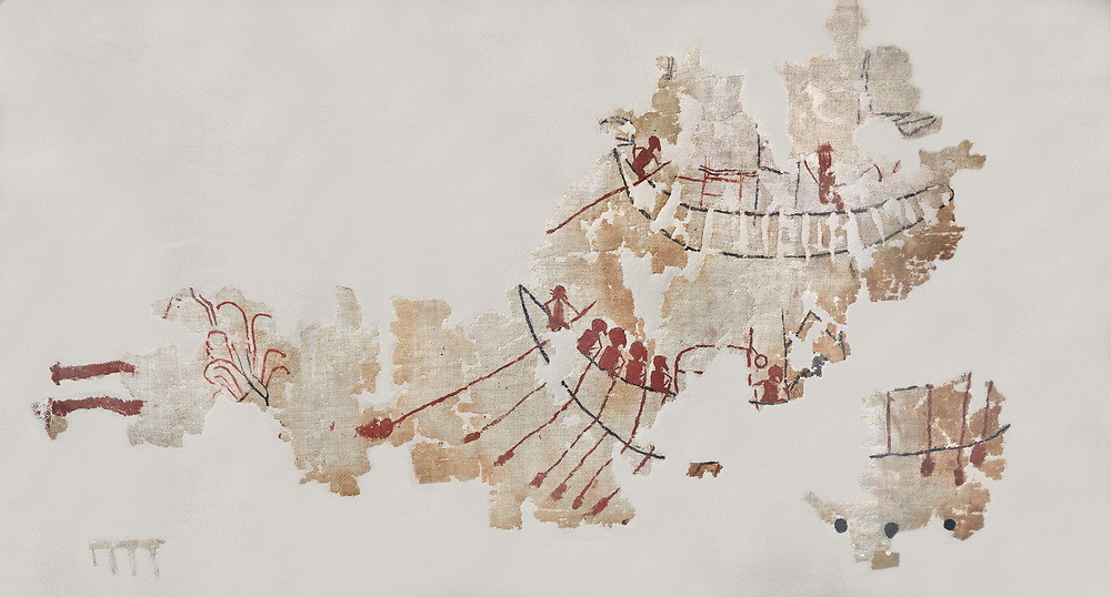 Ancient Egyptian Gebelein cloth depicting a Nile boat scene, the oldest know painted fabric artefact, Predynastic Egypt, Circa 3600BC. Egyptian Museum, Turin. <br /> <br /> There are at least 4 boats depicted on this linen cloth : two small carft following behind two larger vessels. The two small boats are equipped trains with 8 to 10 oars. The bottom boat has 4 rowers with their oars but other oars hanging below the hull . The helmsman has a steering oar larger (left). Two cabins occupy the central space. Between them a person is sitting in the same position as rowers and a black line behind it may be an indication of an other oar. The upper large boat does not have rowers but a helmsman at the back. The curved stern rises high and ends with a decoration. Red and black horizontal lines appear to indicate the presence of a cabin with a flat roof. Front of the cabin a character is sitting on a kind of throne. It seems to wear something on his head while the rowers are bareheaded. .<br /> <br /> If you prefer to buy from our ALAMY PHOTO LIBRARY  Collection visit : https://www.alamy.com/portfolio/paul-williams-funkystock/ancient-egyptian-art-artefacts.html  . Type -   Turin   - into the LOWER SEARCH WITHIN GALLERY box. Refine search by adding background colour, subject etc<br /> <br /> Visit our ANCIENT WORLD PHOTO COLLECTIONS for more photos to download or buy as wall art prints https://funkystock.photoshelter.com/gallery-collection/Ancient-World-Art-Antiquities-Historic-Sites-Pictures-Images-of/C00006u26yqSkDOM