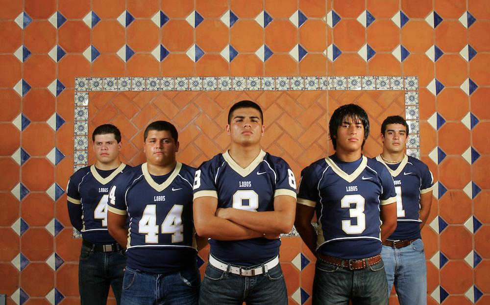 Photo by Alex Jones..Brownsville Lopez Lobos: #4 Cesar Gracia (cq), linebacker, #44 Johnny Barrientos, linebacker, #8 Luis Esparza, quarterback, #3 Rico Benavidez, receiver, #1 Juan Muñoz, running back.  Shot at UT Brownsville.