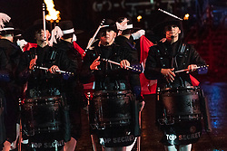 The cast of the spectacular Royal Edinburgh Military Tattoo perform together in full dress on the Edinburgh Castle Esplanade. The Tattoo takes place from 3 August 2018 to 25 August 2018.