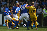 Photo: Pete Lorence.<br />Macclesfield Town v Notts County. Coca Cola League 2. 05/05/2007.<br />John Miles puts Macclesfield into an early lead.