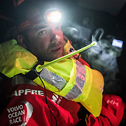 Leg 3, Cape Town to Melbourne, day 03,  Pablo Arrarte's life jacket accidentally deployed while bailing on board MAPFRE. Photo by Jen Edney/Volvo Ocean Race. 14 December, 2017.