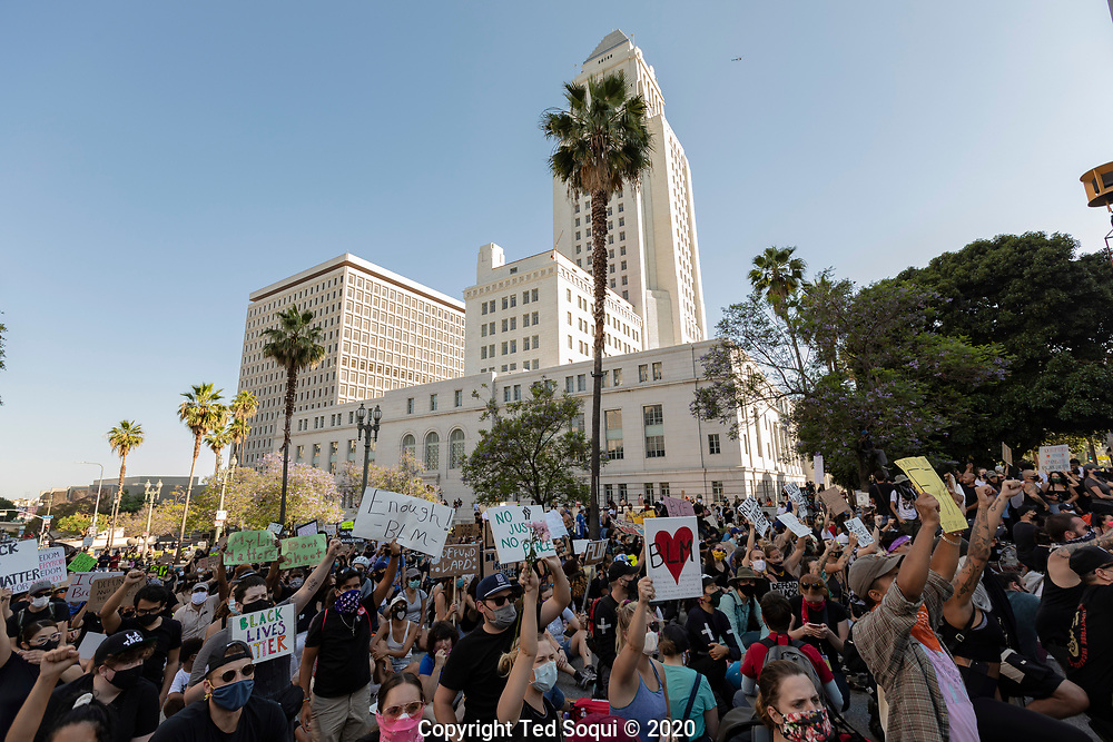 A large crowd of Black Lives Matters protesters at LA City. The California National surrounded the city hall building to keep rioters away.<br /> 6/3/2020 Los Angeles, CA USA<br /> (Photo by Ted Soqui)