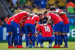 Time do Chile na partida entre Brasil x Chile, válida pelas oitavas de final da Copa do Mundo 2014, no Estádio Mineirão, em Belo Horizonte. FOTO: Jefferson Bernardes/ Agência Preview