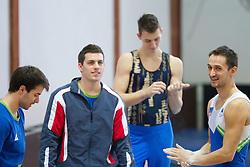 Rok Klavora, Gregor Saksida, Matic Pecan and Saso Bertoncelj (R) during Slovenian Artistic Gymnastics National Chapionship 2011, on November 20, 2011 in GIB Arena, Ljubljana, Slovenia. (Photo By Vid Ponikvar / Sportida.com)