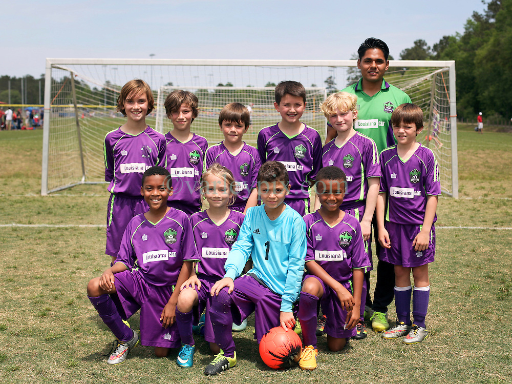 09 April 2016. Hammond, Louisiana.<br /> South Tangi Youth Soccer Association (STYSA), Chappapeela Sports Complex, 30th Annual Strawberry Cup,  <br /> New Orleans Jesters Youth Academy U10 team Green. <br /> Photo©; Charlie Varley/varleypix.com