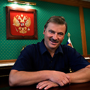 Russian billionaire Sergei Veremeenko poses in his office in Moscow, Russia.