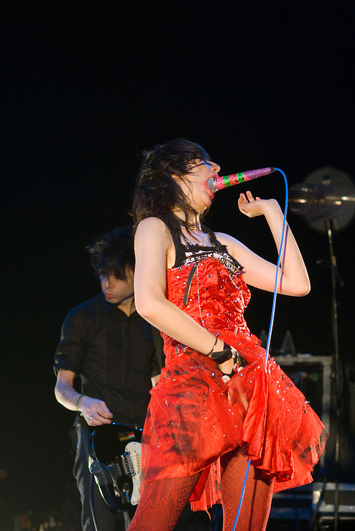 Yeah Yeah Yeahs [Karen O pictured] performing live at Ten Years of All Tomorrow's Parties at Butlins in Minehead. 11 December 2009.