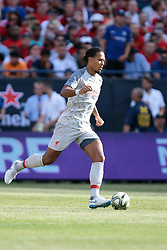 July 28, 2018 - Ann Arbor, Michigan, United States - Virgil van Dijk (4) of Liverpool carries the ball during an International Champions Cup match between Manchester United and Liverpool at Michigan Stadium in Ann Arbor, Michigan USA, on Wednesday, July 28,  2018. (Credit Image: © Amy Lemus/NurPhoto via ZUMA Press)