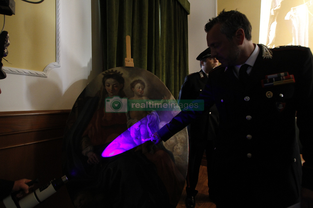 May 30, 2017 - Naples, Italy - The nuclear carabineers protect the cultural heritage of Naples, recognized the ''Madonna with baby'' damping, cutting and broadcasting, in 1992, from the ''San Michele'' church of Gete in the municipality of Tramonti. (Credit Image: © Sasso Fabio/Pacific Press via ZUMA Wire)