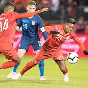 EAST HARTFORD, CONNECTICUT- October 16th:  Pedro Aquino #23 of Peru defended by Wil Trapp #20 of the United States during the United States Vs Peru International Friendly soccer match at Pratt & Whitney Stadium, Rentschler Field on October 16th 2018 in East Hartford, Connecticut. (Photo by Tim Clayton/Corbis via Getty Images)