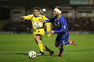 Sean Rigg of AFC Wimbledon goes past Josh Windass of Accrington Stanley. Skybet football league two play off semi final, 1st leg match, AFC Wimbledon v Accrington Stanley at the Cherry Red Records Stadium in Kingston upon Thames, Surrey on Saturday 14th May 2016.<br /> pic by John Patrick Fletcher, Andrew Orchard sports photography.