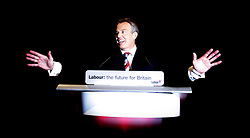 Prime Minister Tony Blair  arrices on the stage for his   last Conference speech at the Labour Party Conference ,Manchester PRESS ASSOCIATION Photo. Picture date:Tuesday 26th September , 2006. Photo credit should read: Andrew Parsons/PA.