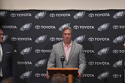 The Philadelphia Eagles war room and press conference during first round of the draft at the NovaCare Complex on April 27, 2017 in Philadelphia, Pennsylvania.  (Photo by Drew Hallowell/Philadelphia Eagles)