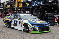 October 5, 2018 - Dover, DE, U.S. - DOVER, DE - OCTOBER 05: Chase Elliott driver of the #9 NAPA Auto Parts Chevrolet rolls through the garage area during practice for the Monster Energy NASCAR Cup Series Gander Outdoors 400 on October 05, 2018, at Dover International Speedway in Dover, DE. (Photo by David Hahn/Icon Sportswire) (Credit Image: © David Hahn/Icon SMI via ZUMA Press)